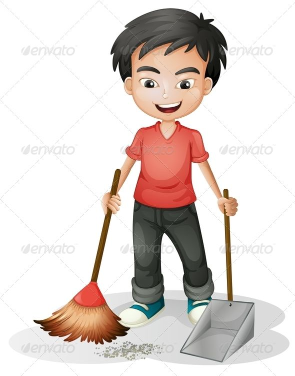 Boy sweeping the dirt.