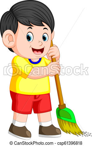 the boy with the black hair is sweeping the trash with the green broom.