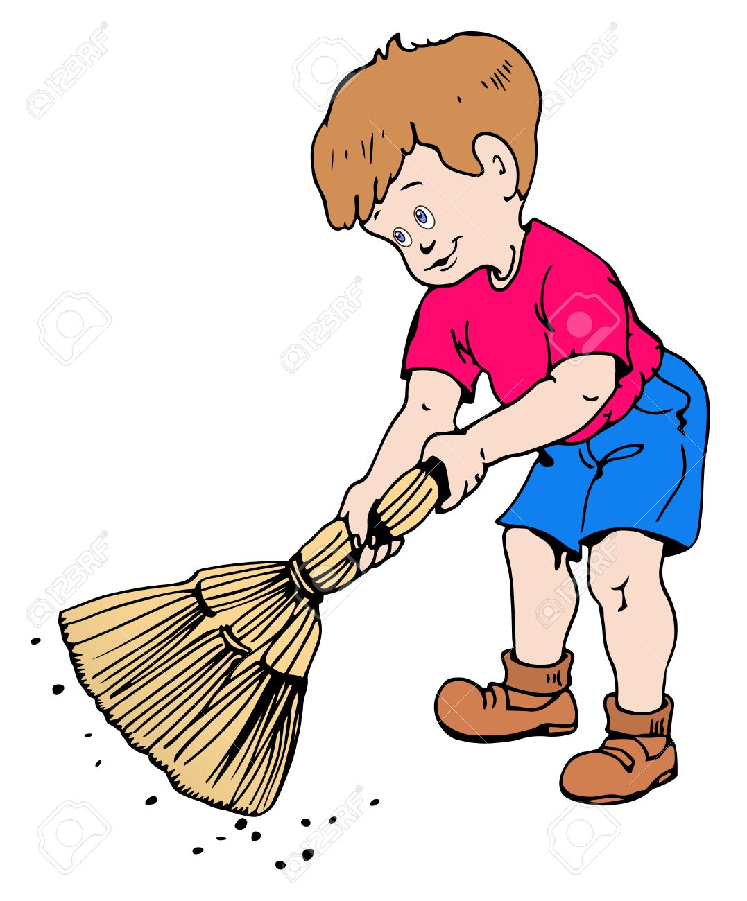 Illustration of a boy sweeping the dirt on a white background.