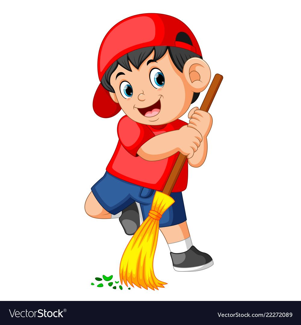 Happy boy using the red cap sweep the trash Vector Image.