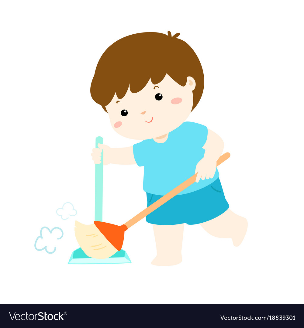 Cute boy sweeping the dust on a white background vector image.