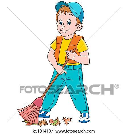 Cartoon boy sweeper Clip Art.