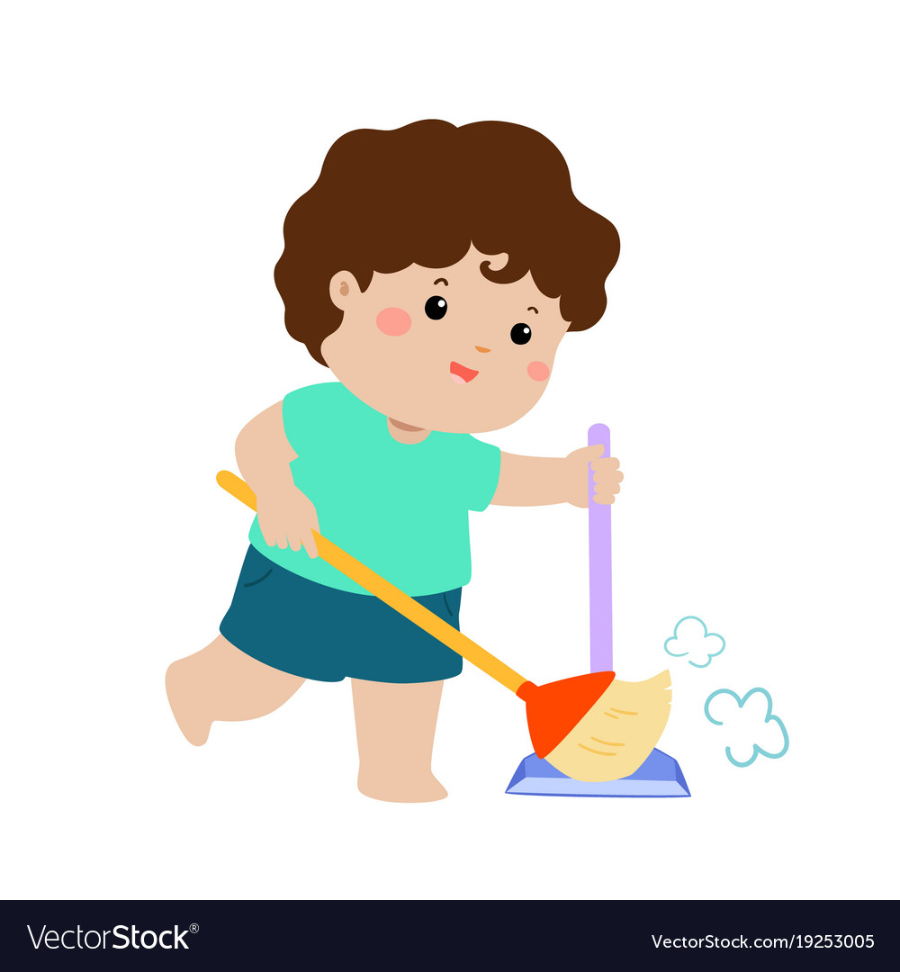 Cute boy sweeping the dust on a white background.