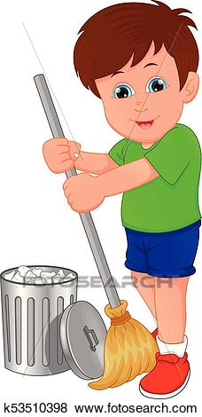 Little boy cleaning, sweeping Clip Art.