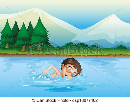 Vector Clipart of A boy swimming at the river.
