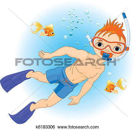 Clip Art of Boy swimming under water k6183306.