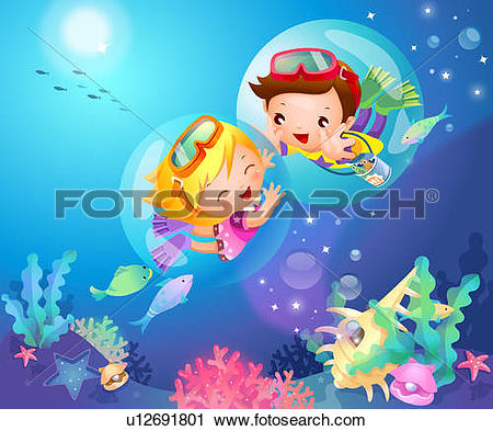 Stock Illustration of Boy swimming underwater u21848155.