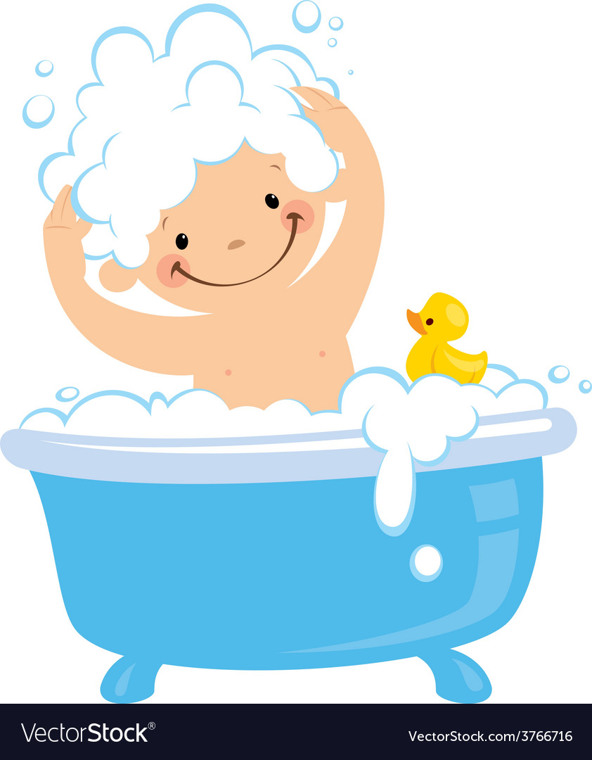 Cartoon boy having bath washing hair.