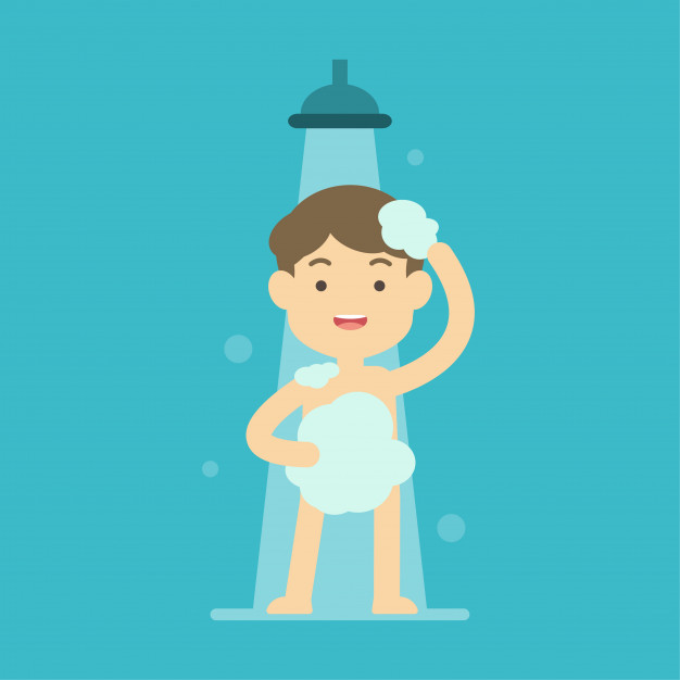 Happy boy taking shower in bathroom concept Vector.