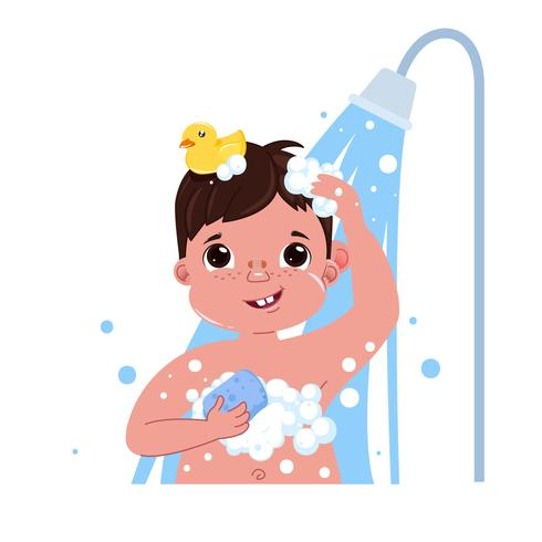 Little child boy character take a shower. Daily routine.