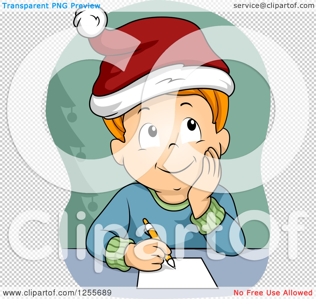Clipart of a Red Haired White Boy Thinking About His Christmas.