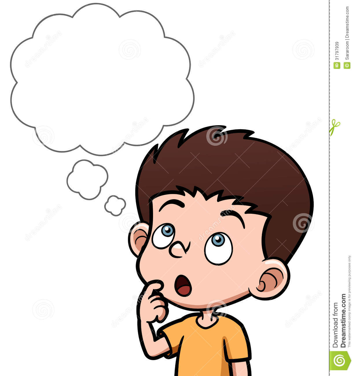 Boy Thinking Red Clipart.