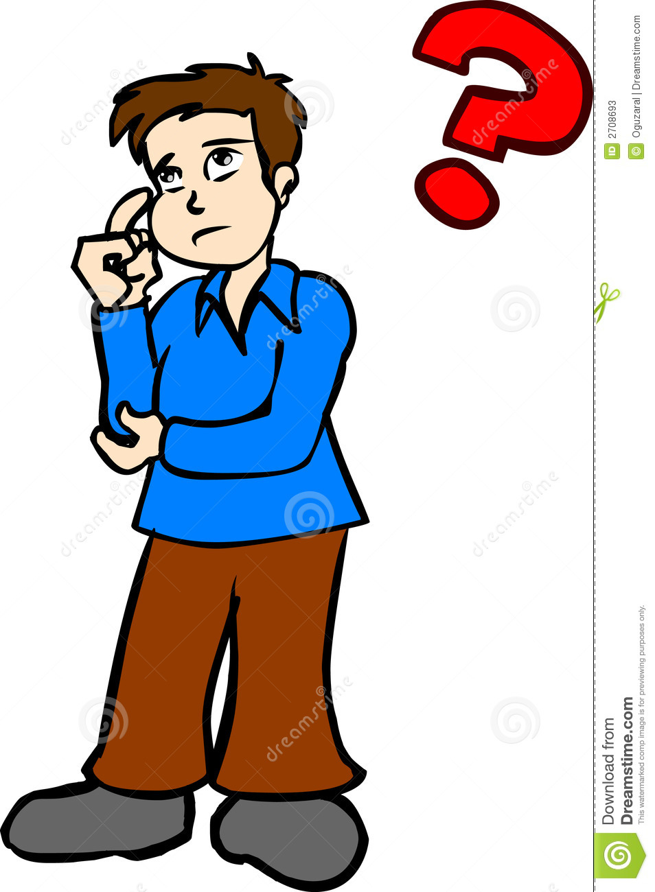Boy Thinking Red Clipart