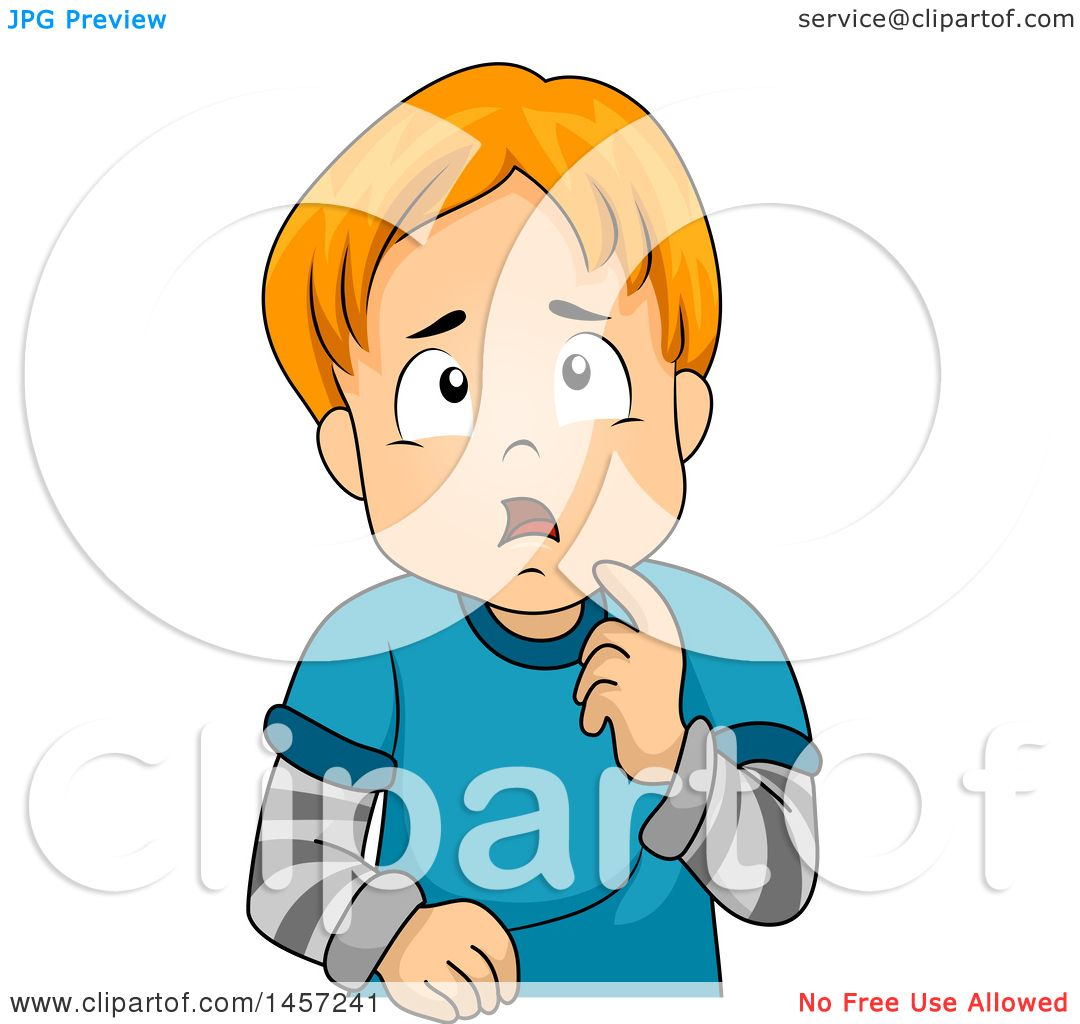 Clipart of a Confused Red Haired White Boy Thinking.
