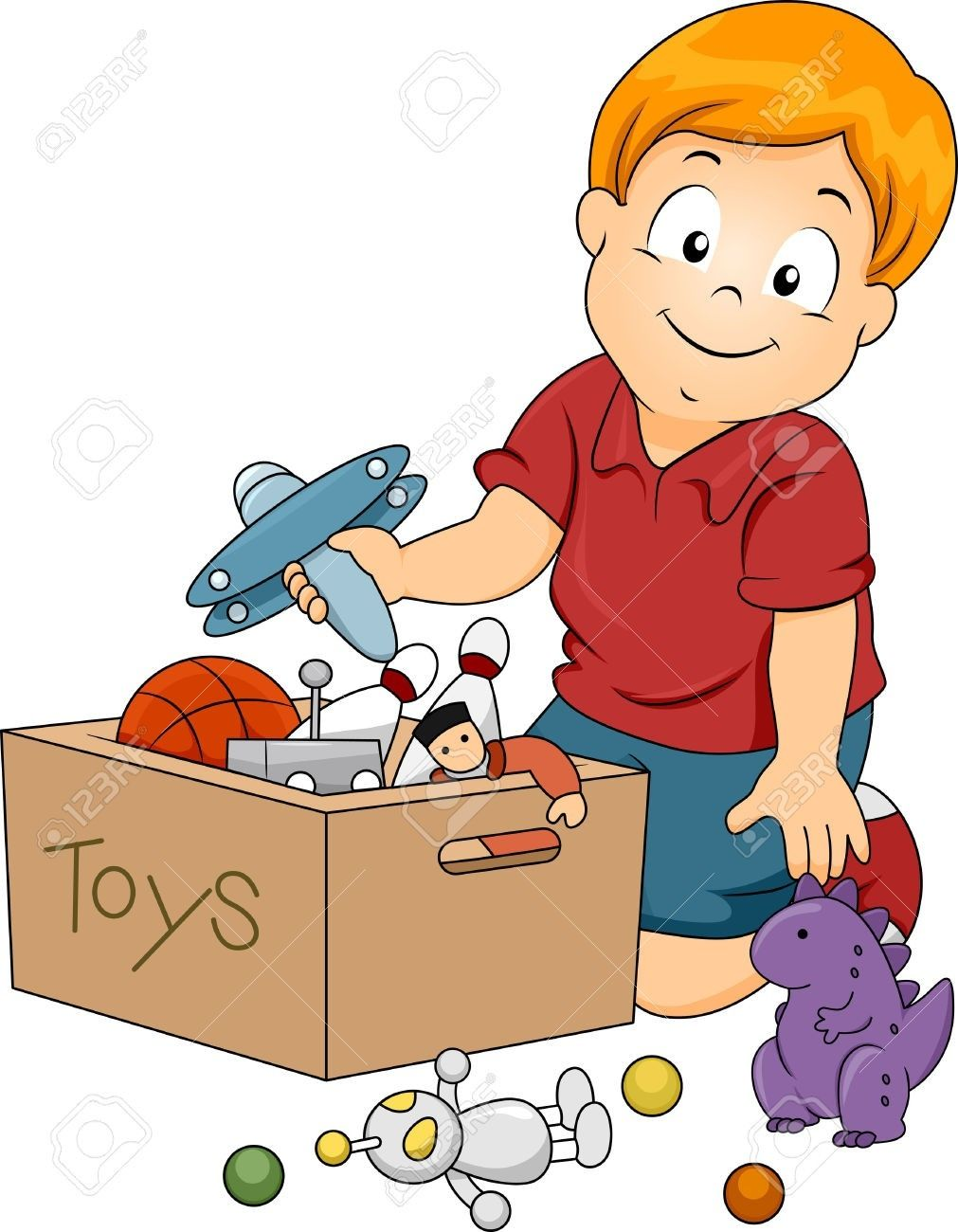 Kids Cleaning Up Toys Clipart.