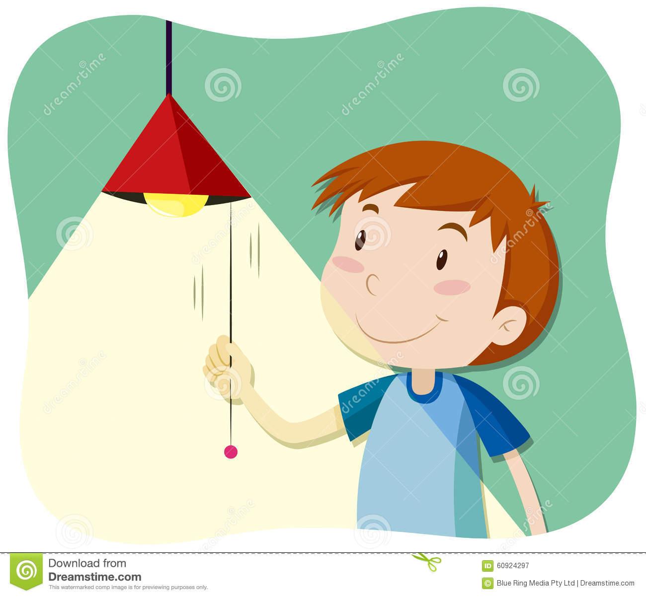 Boy Turning On The Light Stock Vector.