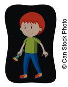 Vectors Illustration of Boy turning off the light illustration.