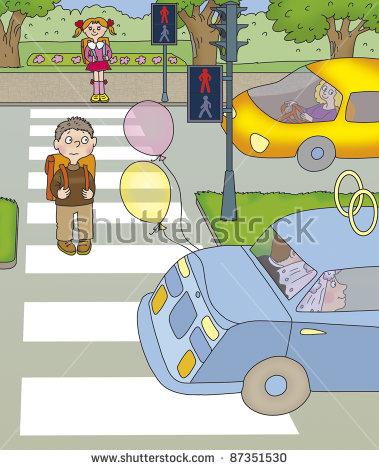 Boy Turned Half Of The Road And Stopped At Red Lights Stock Photo.