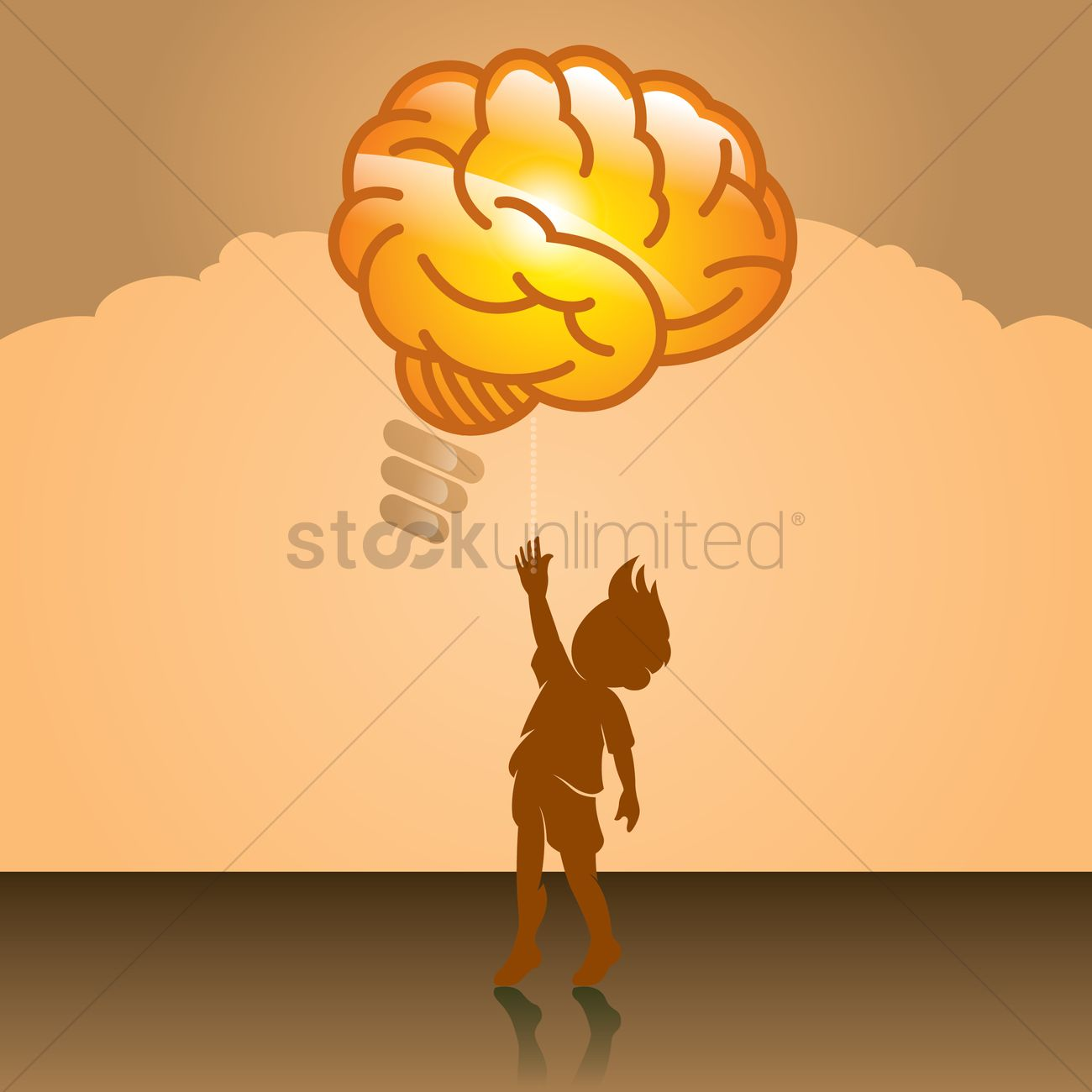 Free Boy turning on a brain shaped light bulb on Vector Image.