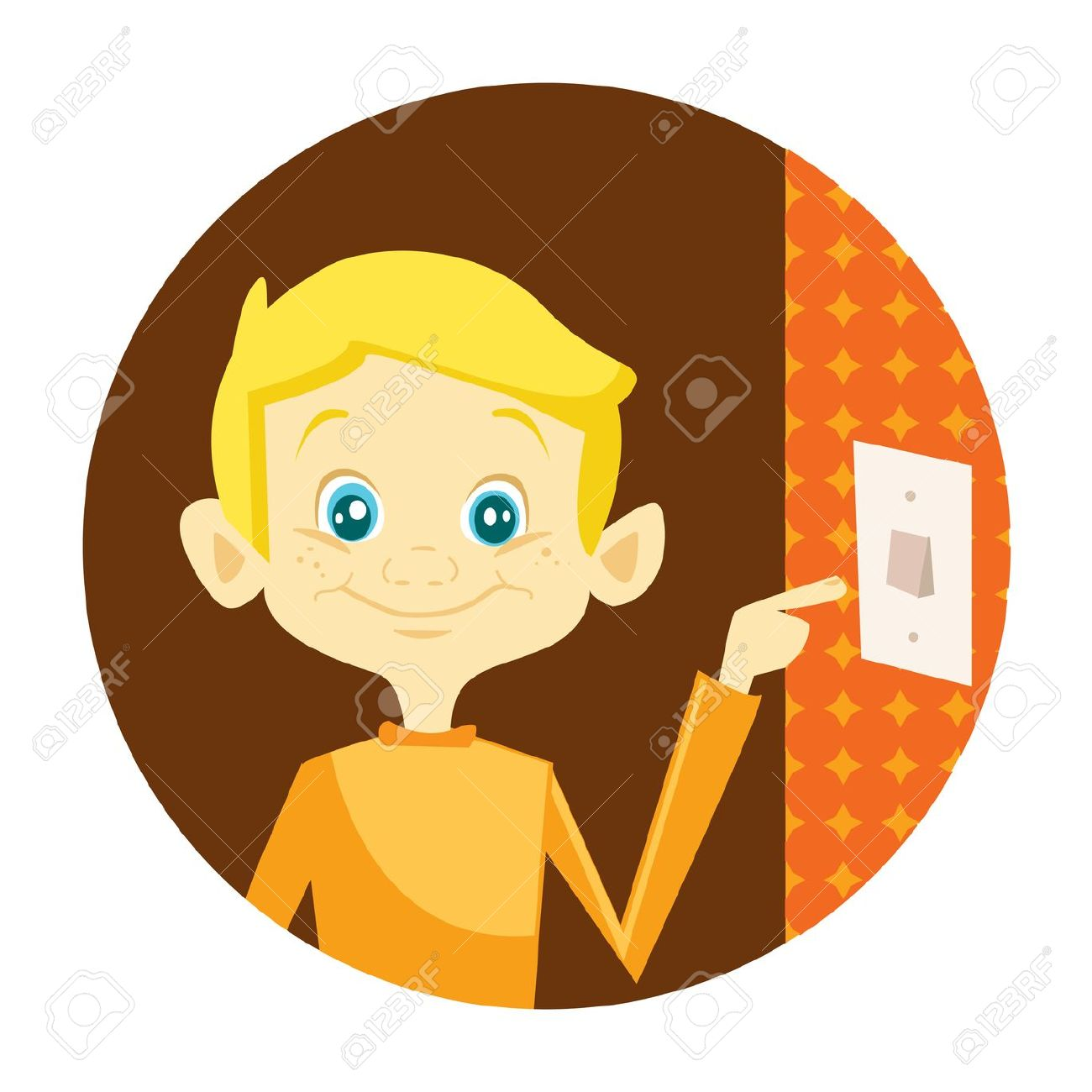 Kid Turning Off The Light Illustration Royalty Free Cliparts.