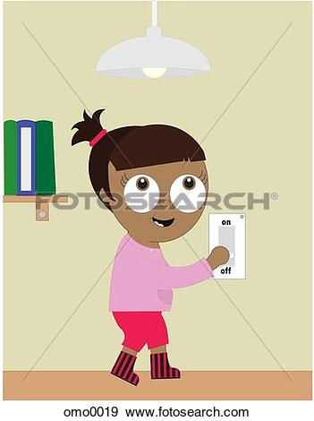 Stock Illustration of A girl turning off the light switch to.
