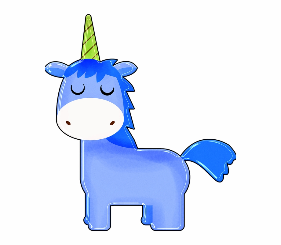 Unicorn Cartoon Blue Boy Unicorn Happy Colorful.