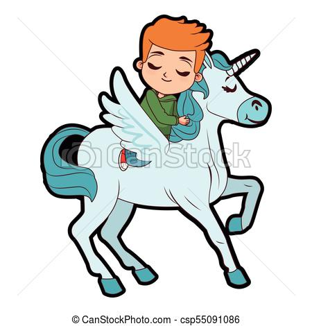 Cute boy on unicorn.