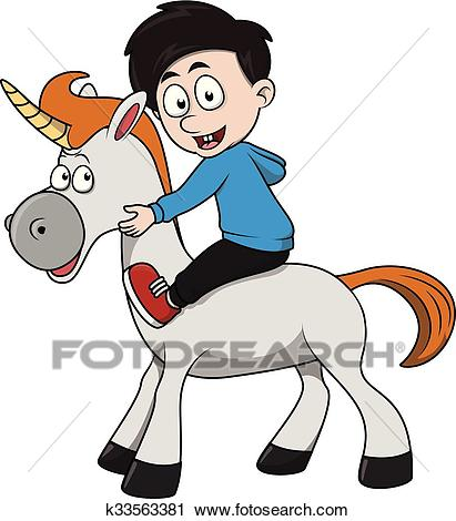 Boy unicorn cartoon illustration Clipart.