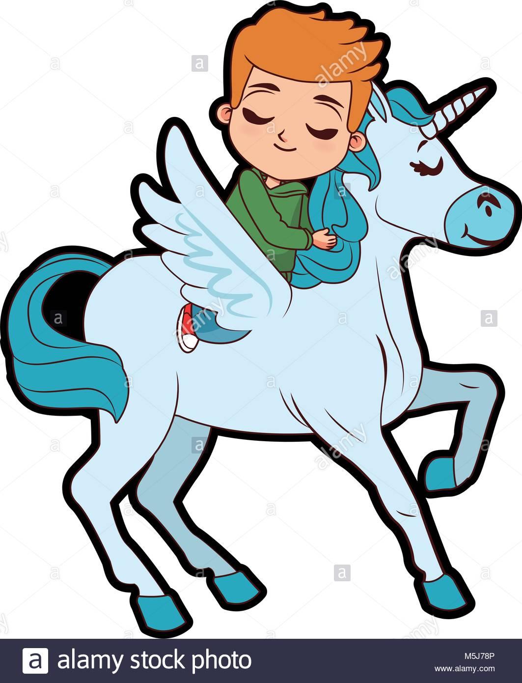 Cute boy on unicorn Stock Vector Art & Illustration, Vector Image.