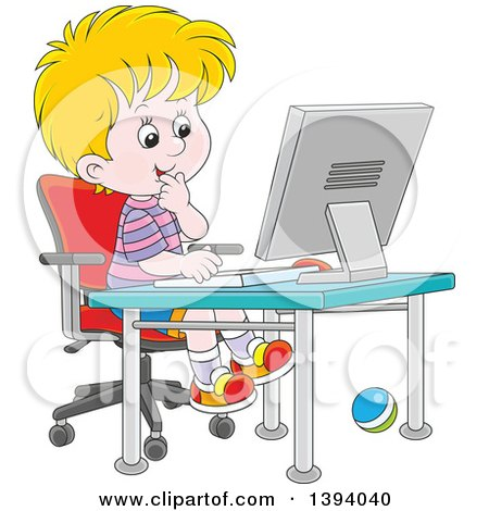 boy using computer clipart #11