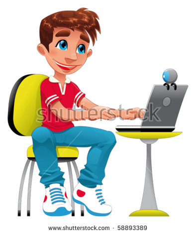 Teenage Boy With Computer Stock Images, Royalty.