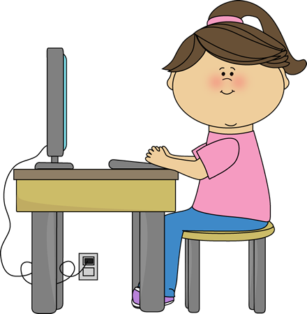 Kid Using Computer Clipart.