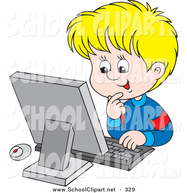 boy using computer clipart #18