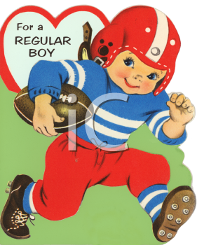 Vintage Valentine Card Showing a Boy Playing Football.