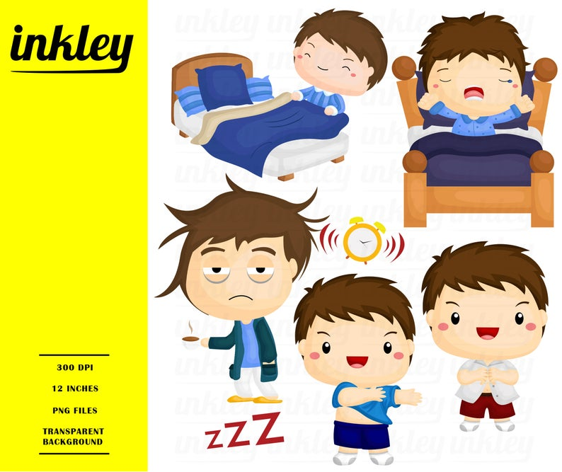 Wake up Clipart, Wake up Clip Art, Wake up Png, Morning Clipart, Get Ready  Clipart, Bed Clipart, Alarm Clipart, Sleep Clipart, Sleeping.