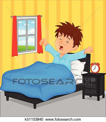 Little boy wake up in the morning Clipart.