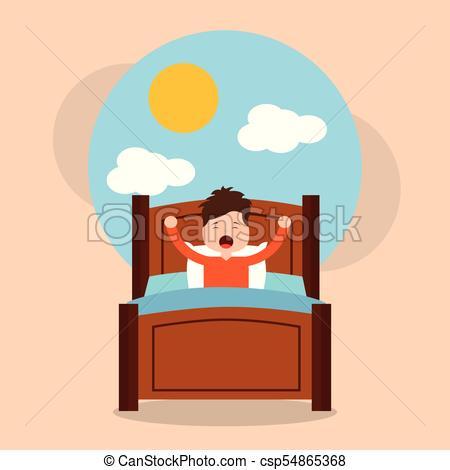 little boy wake up in the morning cloud sun landscape.