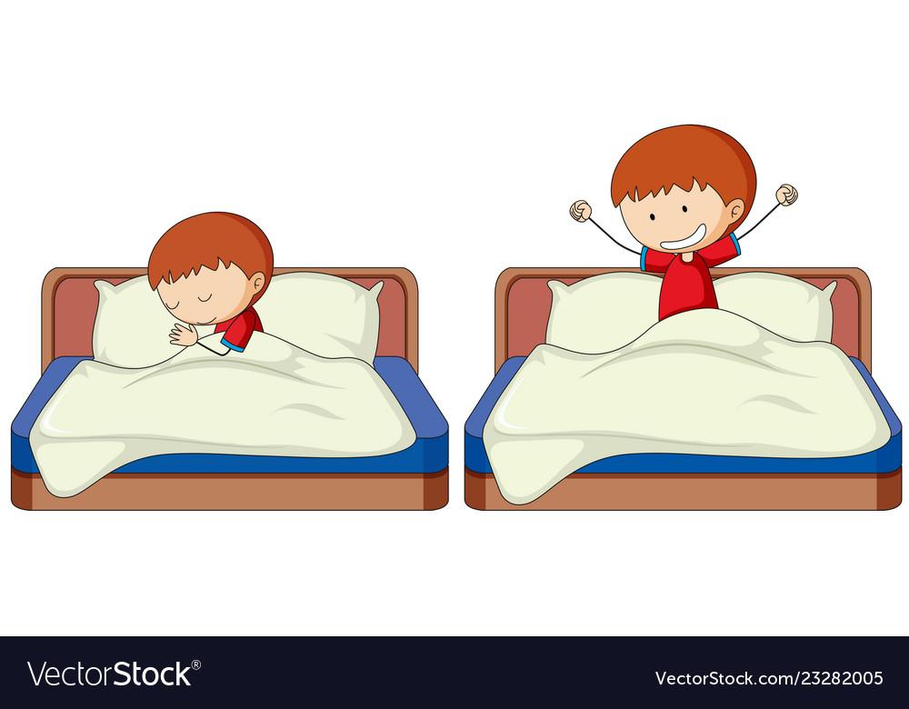 Set of boy sleep and wake up.