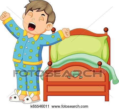 A boy wake up and stretching in morning Clipart.