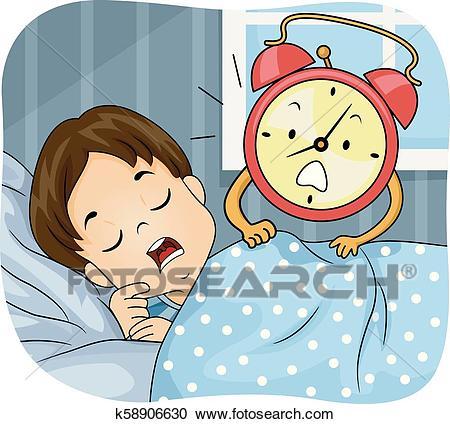 Kid Boy Sleep Alarm Clock Wake Up Illustration Clipart.