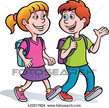 Boy and Girl Walking with Backpacks Clipart.