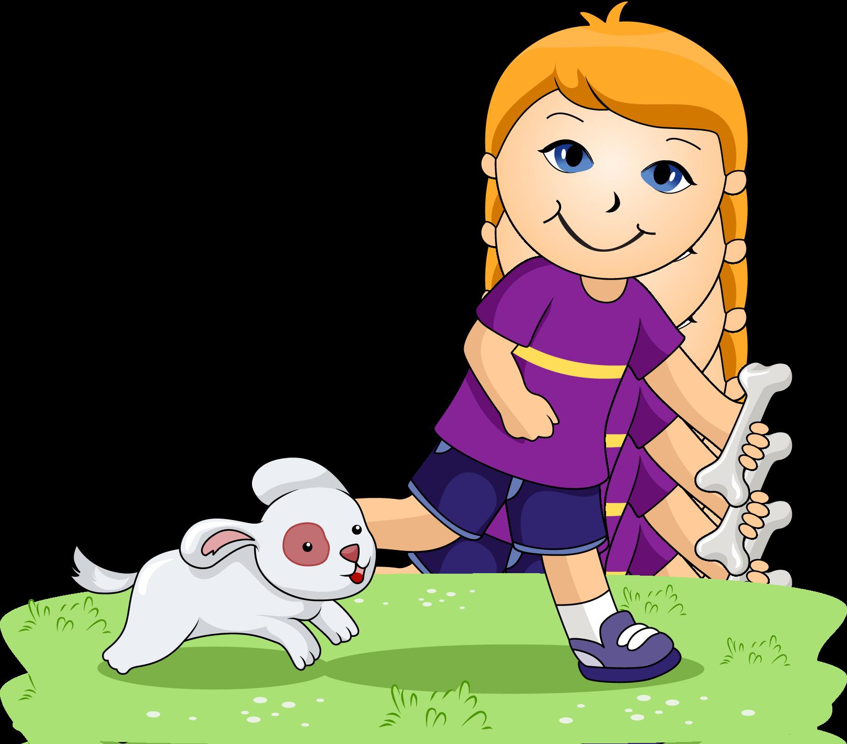 Boy Walking Dog Clipart.