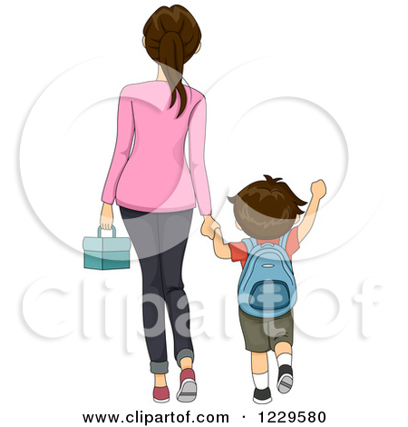 Boy Walking With Mom Clipart.