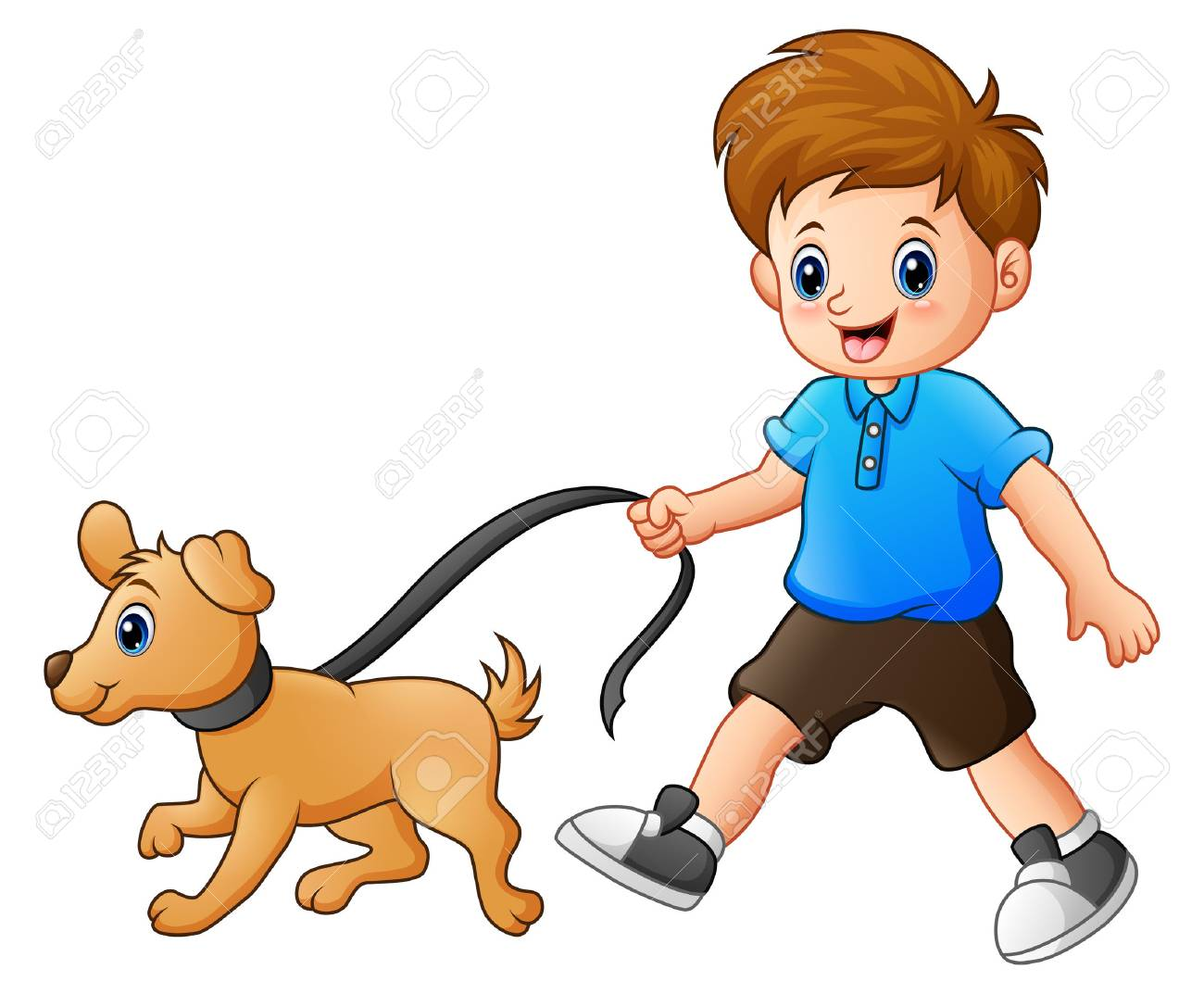 Vector illustration of Little boy walking with his dog.