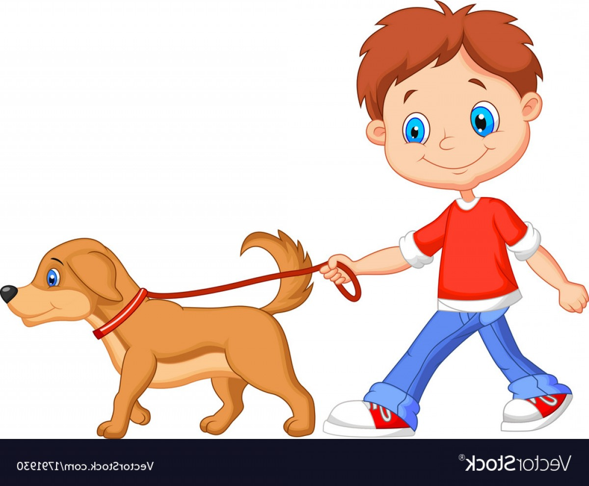 Cute Cartoon Boy Walking With Dog Vector.