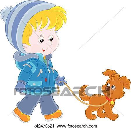 Boy walking with his dog Clipart.