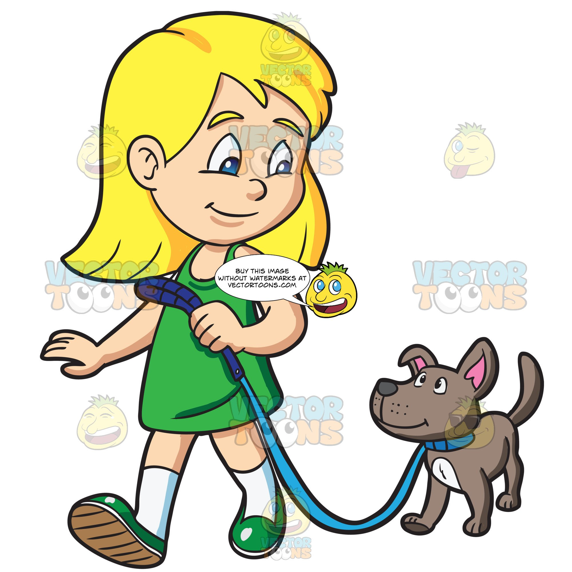 A Girl Takes Her Dog For A Walk.