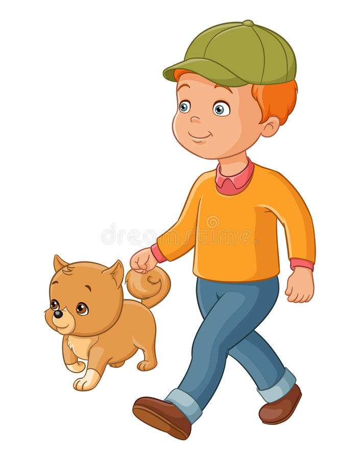 Cute Cartoon Boy Walking Dog Stock Illustrations.