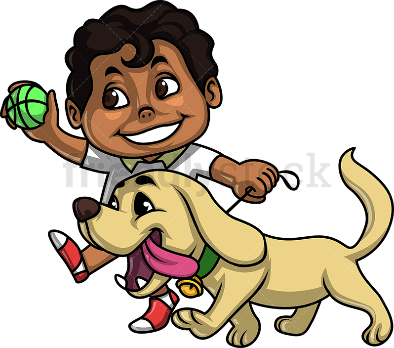 Black Kid Walking His Dog.