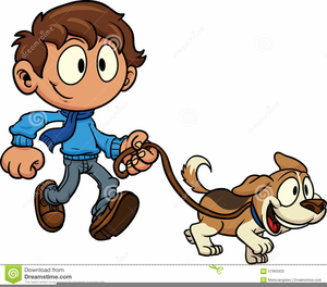 Clipart Child Walking Dog.